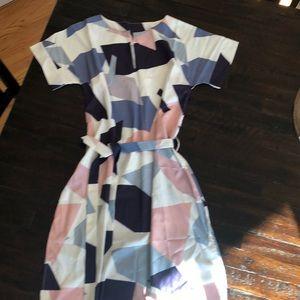 Brand new geometric belted dress